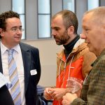 Damaris Braun (Projektmanagement, Univ.), Prof. Dr. Wolfram Rollett (Steuerungsgruppe, PH), Prof. Dr. Jörg Wittwer (Steuerungsgruppe, Univ.) und Prof. Dr. Ulrich Druwe (Rektor der PH) (v.l.n.r.)