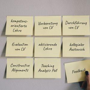 Notizzettel mit zentralen Begriffen der Lehrwerkstatt