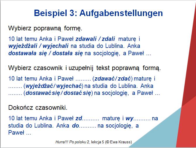 Beispiel für unterschiedliche Lenkungshilfen einer Aufgabe aus einem Lehrbuch zur polnischen Sprache