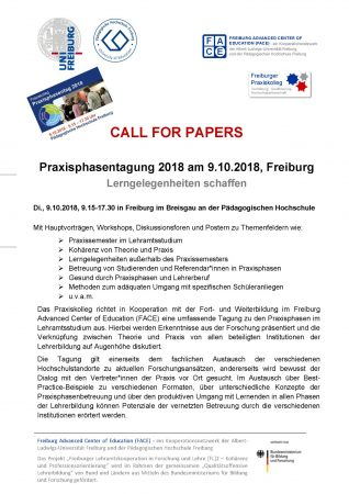 Call for Papers: Praxisphasentagung 2018