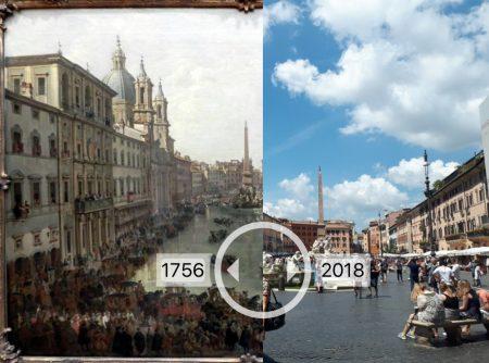 Bildvergleichsfunktion in einer von den Studierenden erstellten Future History Tour: Die Piazza Navona 2018 und ein Gemälde von 1756
